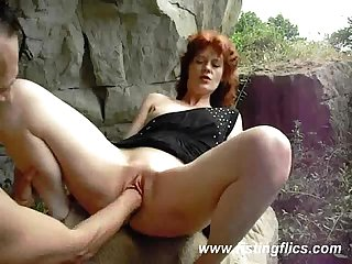 Amateur wife is fist fucked outdoors