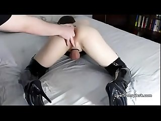 Fingered cd slut reaches orgasm shemale porn ashemaletube com Mp4