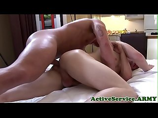 Ripped army stud squirts cum after bareback