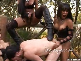 Hardcore shemale gangbang fuck and cum shower
