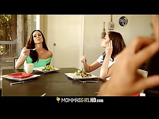 Step daughter ariana marie licks mom S pussy under a table