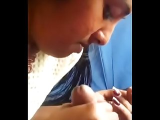 Horny tamil girl sucking black cock and caring it with her tongue
