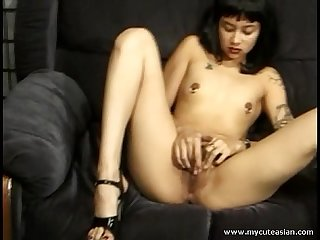 Cute half asian gets cum all over her nipple piercings