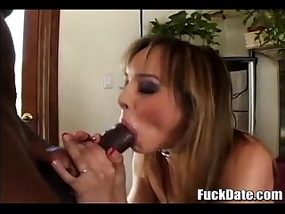 Fine brunette with tight body fucks a huge black cock in every way
