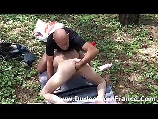 Outdoor fisting for gay french dude