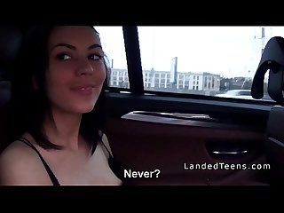 Teen bangs in leather backseat in car