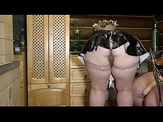 Lesbian with a huge strapon fucked a fat maid. Milf sexually shakes with big tits and juicy..