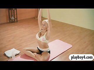 Lovely babes hot yoga session while nude