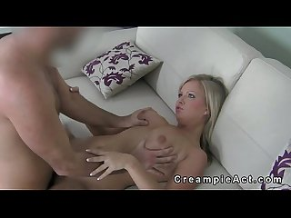 Sweat busty blonde gets pussy creampie after sex