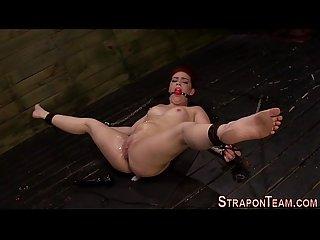 Strapon lesbians fuck sub