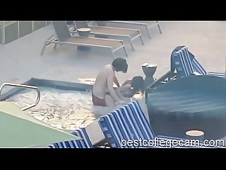Caught fucking in the pool at the hotel bestcollegecam period com