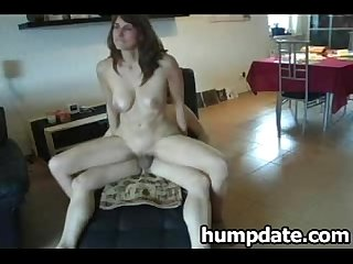 Sexy babe with nice breasts rides cock