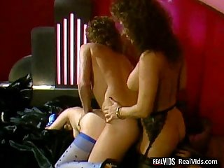 Vintage threesome action on sofa