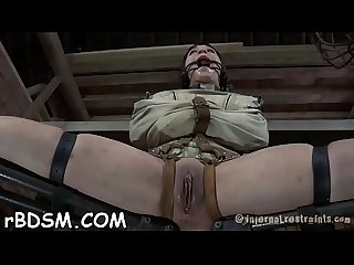 Naked and gagged babe receives wild cunt pleasuring