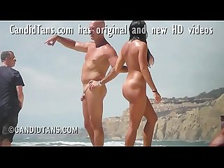 Big busty fake tits exhibitionist girlfriend naked on the beach in public!