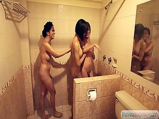 Shemale asian trannies soaping each other in the shower