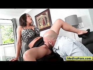 Secretary with big tit sucking cock in the office 01