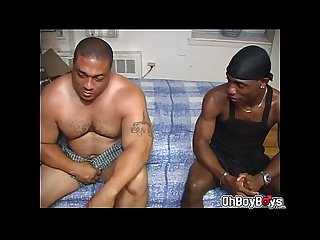 Kidd kaj goes down to his knees and sucking the rocs hairy dick