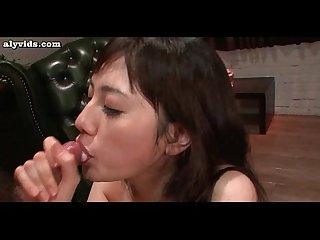 Asian girl doing blowjob and getting jizzload