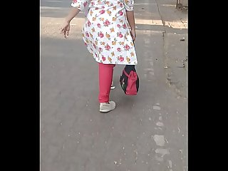 Big ass aunty walking on road