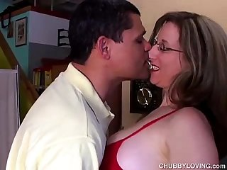 Super sexy chubby honey enjoys a sticky facial cumshot