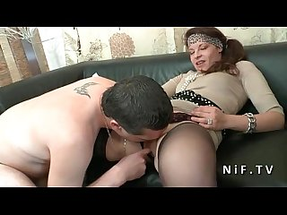 Amateur french couple doing anal sex on our couch for their porn casting