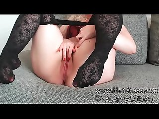 Naughtyceleste squirts in pantyhose