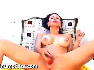 Horny brunette milf toying her pussy and squirting