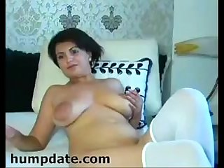 MILF with huge boobs and big areolas teasing