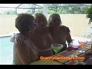 3 whore grannies at A pool bar