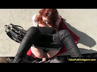 Pulled redhead euro doggystyled outdoors