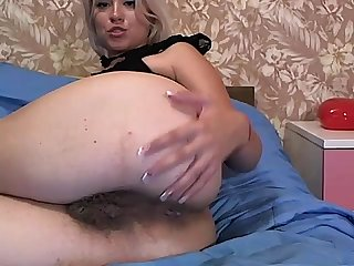 Fingering hairy asshole and licking fingers on webcam more on camsbarn com