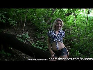 Hot teen Mandi candy masturbating in the illinois woods