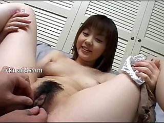 Asian guy licking super hairy cunt