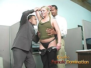 Slutty blonde takes a cumshot at her first day at work 6