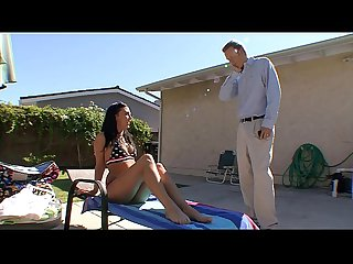 Stepdad at poolside fucked the young stepdaughter hard for coming over teen face