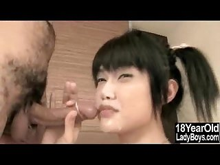 Cum Sprayed Teen Ladyboy!