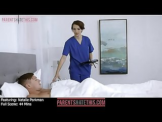 Nurse Natalie Porkman catches her stepbrother jerking off to her and decides to give him a Blowjob..