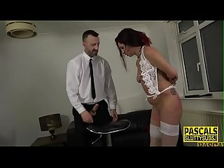 Dominated fetish redhead gets pounded