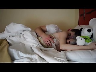 Stepsister fingered and fucked in bed