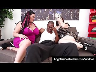 Curvy Cock Suckers Angelina Castro & Sara Jay Mouth Fuck BBC