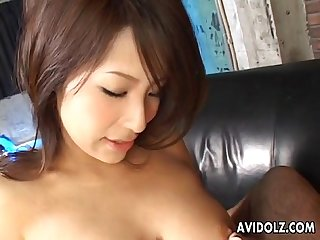 cute asian doll double blowjob action