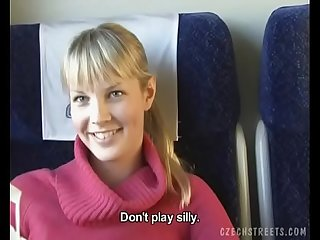 Czech streets blonde girl in train