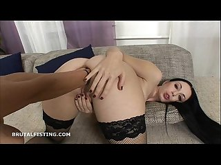 Isabella has two of viktoria S fists in her ass at once