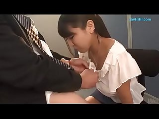 Busty Japanese goes down on a juicy dick full..