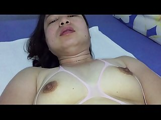Asian milf pussy playing for xvideos fans in pink body stockings