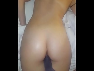 Wife taking huge 9 inch dildo