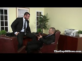 Uniformed gay office hunk pounding ass