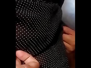 Desi Babe in Black polka Top busty cleavage show with Breast Milk