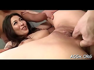 Asian sweetheart shares her butt hole in racy hot trio sex